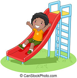 Boy sliding in the Park with Clipping Path