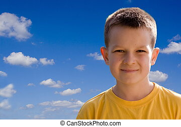 Boy - Smiling boy on blue sky