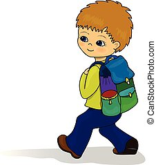 Boy smiling with school bag