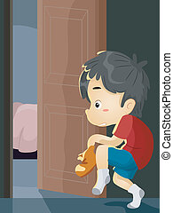 Boy Sneaking Out - Illustration of a Little Boy on Tiptoes...