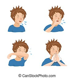 Boy sneezing and coughing right and wrong.