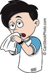 Boy sneezing cartoon illustration