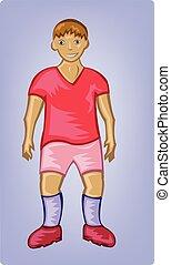 Boy soccer player in red uniform