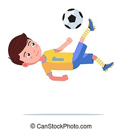 Boy soccer player kicks the ball in a flip jump