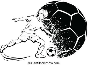 Boy Soccer Player with Splatter Bal