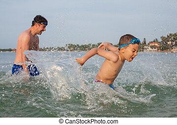 Boy Son Father Play Sea Splashing