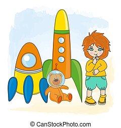 BOY SPACE Children Dream Game Cartoon Vector Illustration Set