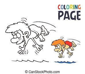 Boy Splashing In The Water Cartoon Coloring Page