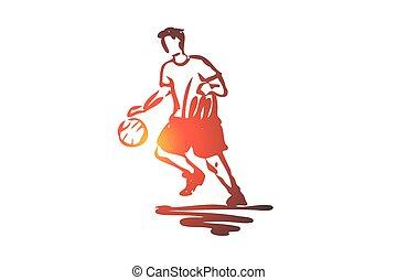 Boy, sport, basketball, ball, sport concept. Hand drawn isolated vector.