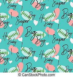 Boy sport seamless vector pattern. Regby ball and words blue...