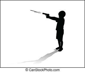 boy sprayed with a water gun