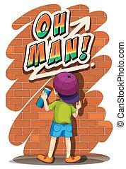 Boy spraying on the wall