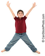 Boy Standing in Letter X Pose