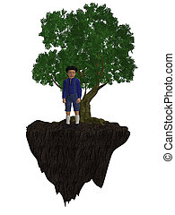 Boy Standing Next To A Tree - Boy standing next to a tree on...