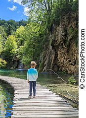 Boy standing on a wooden path going through the untouched ...