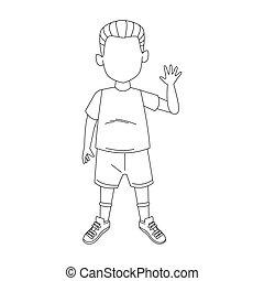 boy standing waving icon, flat design