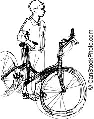 boy standing with bicycle