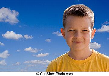 Boy - Smiling boy on blue sky
