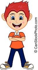 Boy stood with folded arms Cartoon