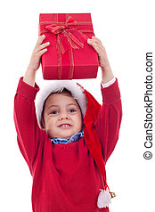 boy stretches out a present