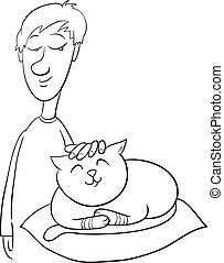 boy strokes cat coloring page