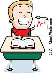 A happy cartoon boy sitting at a desk in school.