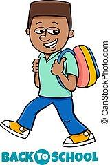 boy student back to school cartoon illustration