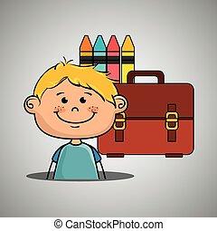 boy student colors school baggage