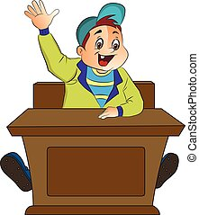 Boy Student, illustration - Boy Student Raising His Hand, ...