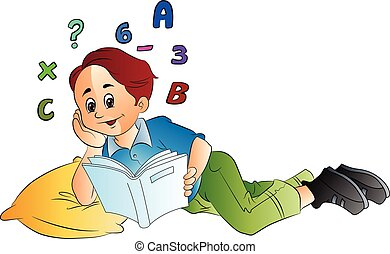 Boy Studying Math, illustration