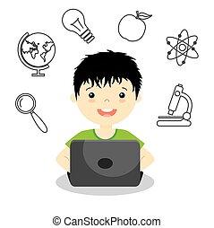boy studying online.