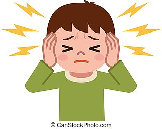 Boy suffering from tinnitus - Vector illustration. Original ...
