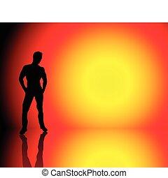 Boy Sun Background - Silhouette of muscle boy on beautiful...
