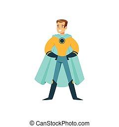 Boy superhero in classic comics costume standing proud -...