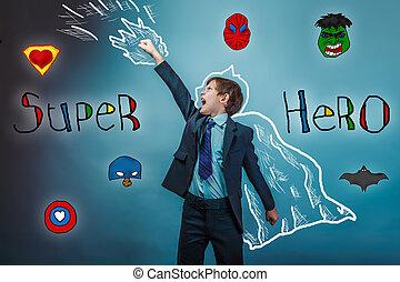 Boy superhero - superhero boy raised his hands superpower...