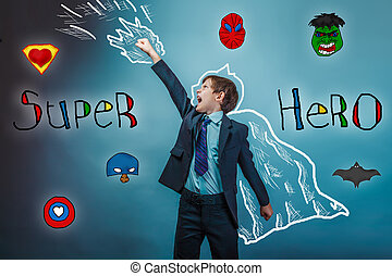 superhero boy raised his hands superpower businessman flying photo behind cloak studio teenager