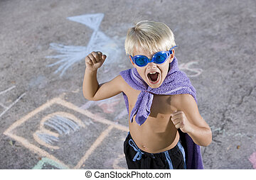 Boy superhero with mask and cape - Cute boy, 7 years, in...
