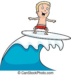 A happy cartoon boy surfing and smiling.