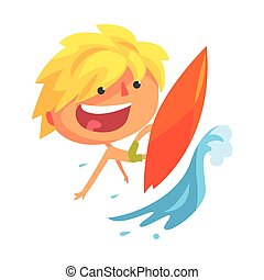 Boy surfing on a big wave cartoon character vector Illustration
