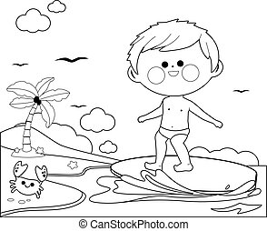 Boy surfing on a wave in the sea. Vector black and white coloring page