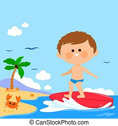 Boy surfing on a wave in the sea. Vector illustration