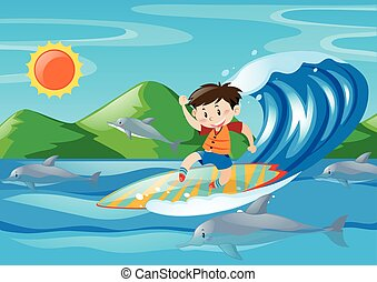Boy surfing on the giant wave