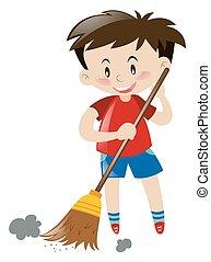 Boy sweeping floor with broom