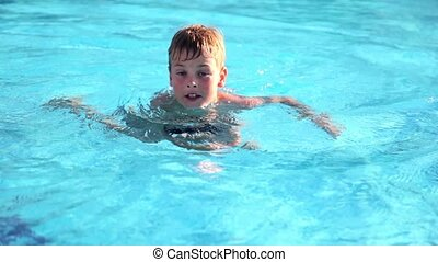 Boy swimming in pool, then stand and jumping, then swam away...