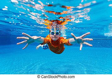 boy swimming underwater - Kids Swimming Underwater