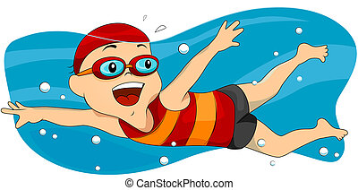 Swimming - Boy Swimming with Clipping Path
