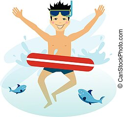 Boy Swimming with Inflatable Circle