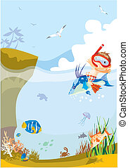 Boy swims on the fish - A little boy is on the fish in the ...