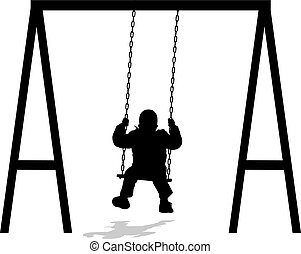 boy swinging at the park