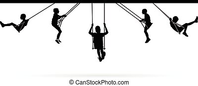 Boy swinging on swing collection